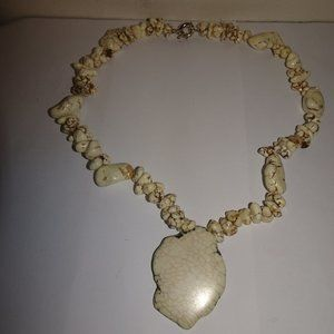 Dyed Howlite Nugget Pendant Necklace 925 Clasp